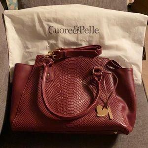 NWOT Cuore & Pelle maroon snake skin leather purse
